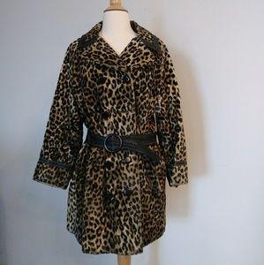 Vintage Leopard Print Trench Coat